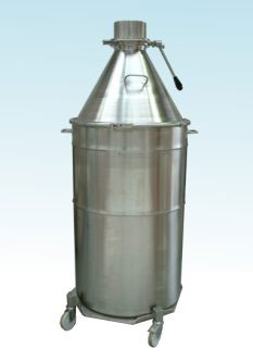 Drum with Cone Attachment, low cost processing container for batches up to 500 litres.